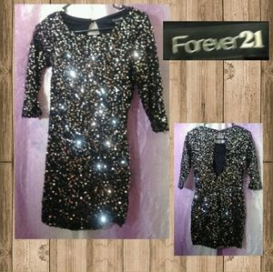 Forever 21 Black Mini Dress With Silver Sequins